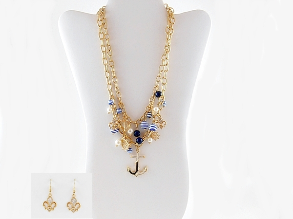 Blue and White Anchor Necklace Double Gold Chain Nautical with Matching Earrings