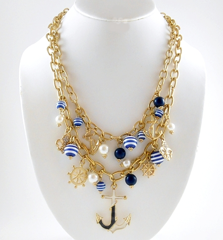'.Blue and White Anchor Necklace.'