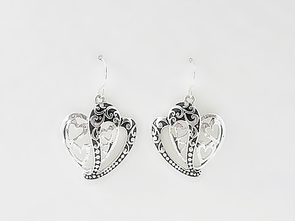 Abstract Double Heart Hook Earrings Antiqued Silver and Black Filigree