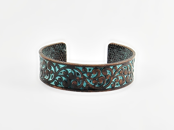 Burnished Copper and Turquoise Filigree Cuff Bracelet