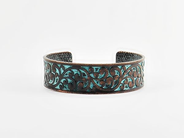 '.Copper Turquoise Cuff Bracelet.'