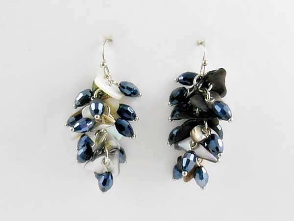 Abalone Shell and Navy Blue Hematite Glass Cluster Dangle Earrings