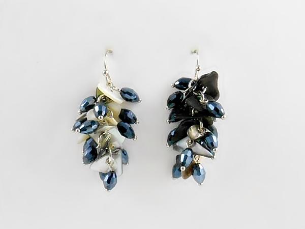 '.Navy Blue Dangle Earrings.'