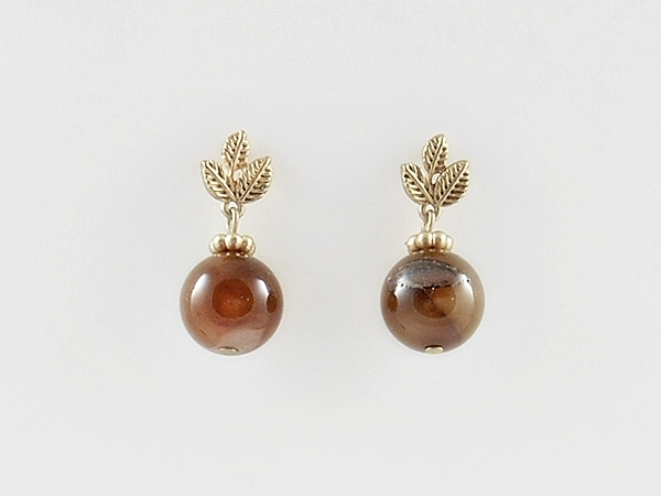 '.Brown and Gold Dangle Earrings.'