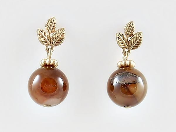 Brown and Gold Dangle Bead Earrings Semi-Precious Stones