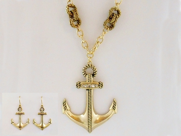 Anchor Necklace & Earrings Antiqued Gold Rhinestone Accents