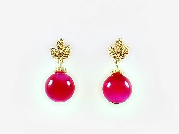Dark Pink Round Semi-Precious Stone Dangle Post Earrings