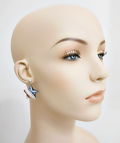 Red, white, and blue patriotic silver star dangle post earrings with rhinestone accents