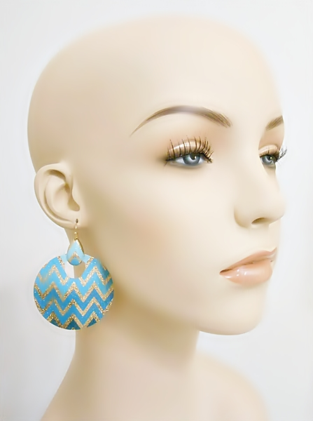 Round metal turquoise and gold glitter chevron dangle earrings.