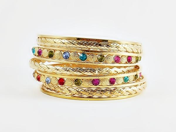 Gold & Multi Color 11 Piece Bangle Bracelets