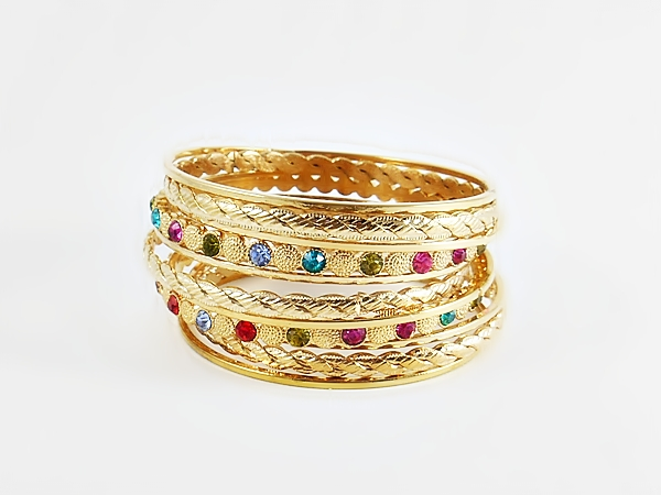 '.Gold and Color Gem Bangles.'