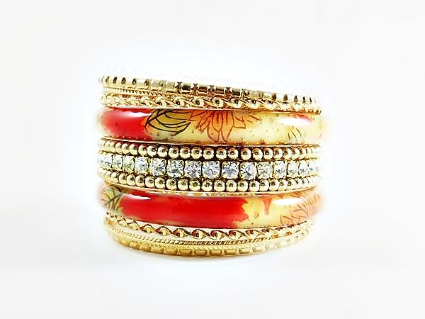 Floral Orange Acrylic Gold and Rhinestone 7 Piece Bangle Bracelet Set
