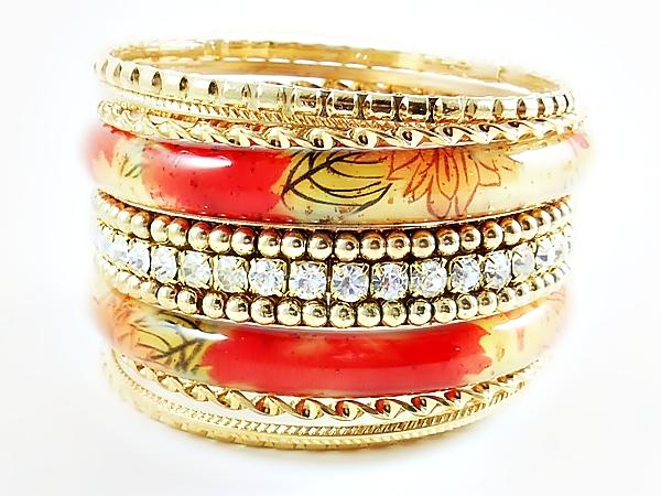 '.Orange Gold Bangle Bracelets.'