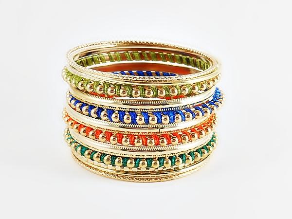 Gold & Multi Color 13 Piece Bangle Bracelets