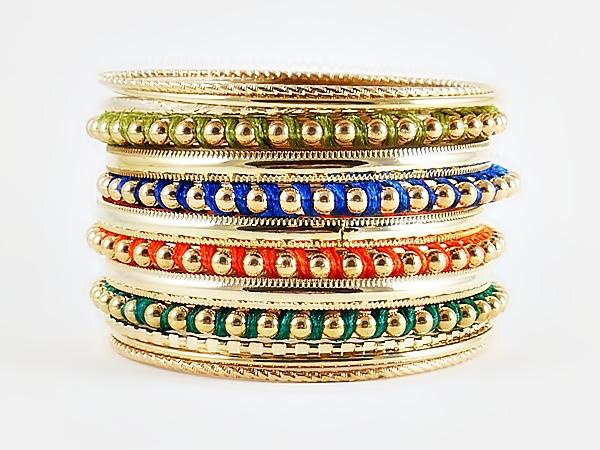 '.Gold Multi Color Bangles.'