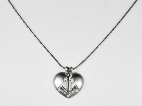 Anchor Heart Necklace Triple Pendant White Gold Plated Crystal Accents