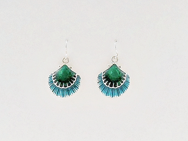 Dainty and sparkly blue, green and silver sea shells hook style dangle earrings.