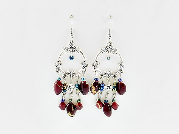 Bohemian Red and Silver Beaded Chandelier Dangle Earrings