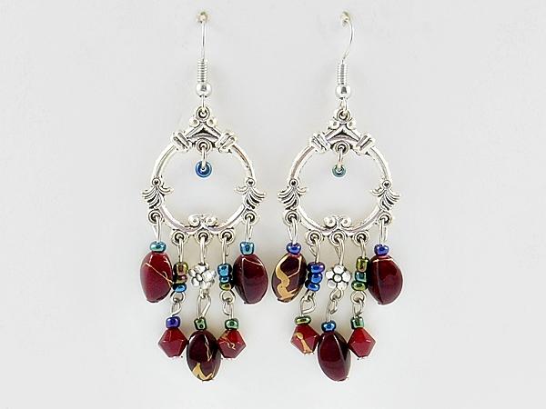 '.Bohemian Red Beaded Earrings.'