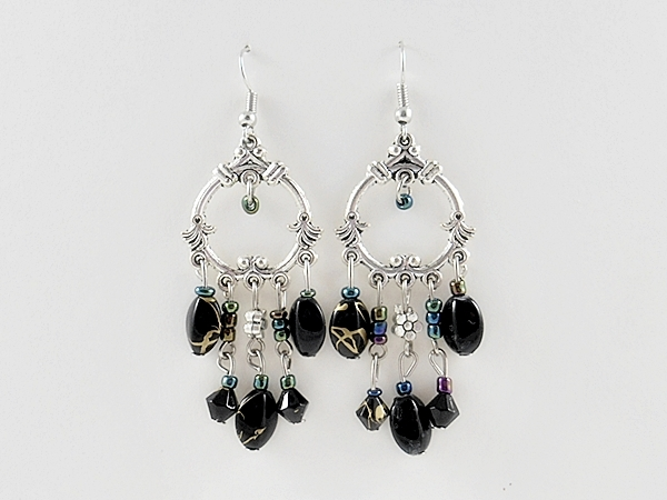 Bohemian Black and Silver Beaded Chandelier Dangle Earrings