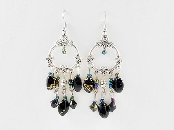 '.Bohemian Black Beaded Earrings.'