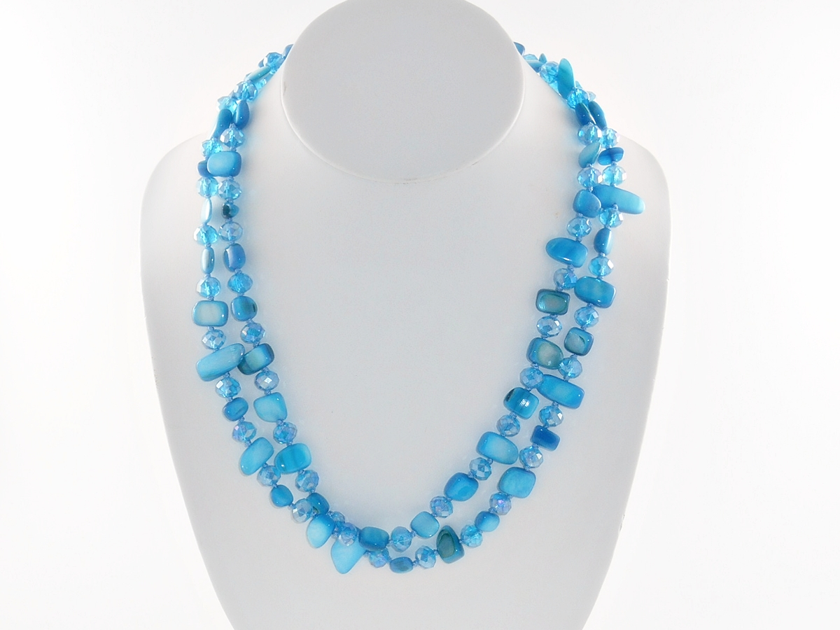 '.Blue Shell Stone Necklace Set.'