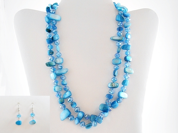 Blue Shell Stone Necklace and Earring Set