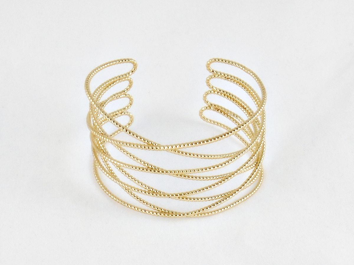 Crossed Gold Wire Metal Wide Cuff Bracelet