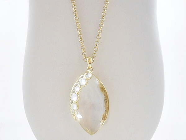Clear Gem Stone Gold Chain Statement Necklace