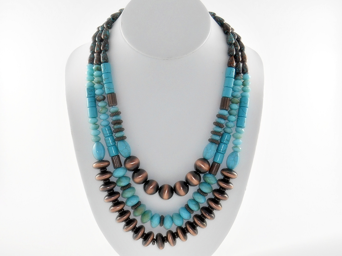 Copper and Turquoise Multi Strand Necklace and Earring Set