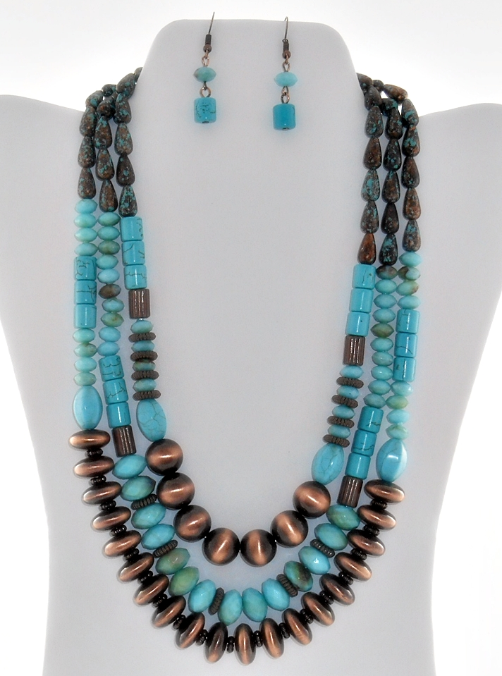'.Copper Turquoise Necklace Set.'