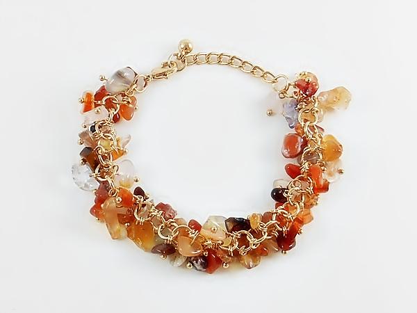 Carnelian Orange Semi-Precious Gemstone Cluster Bracelet