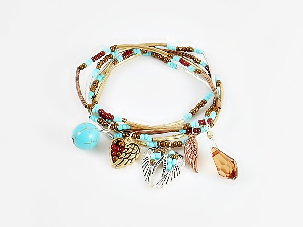 Copper Turquoise Silver Western Charm Stretch Bracelet Set of 5