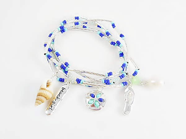 Beach Girl Silver Blue Turquoise Charm Stretch Bracelet Set of 5