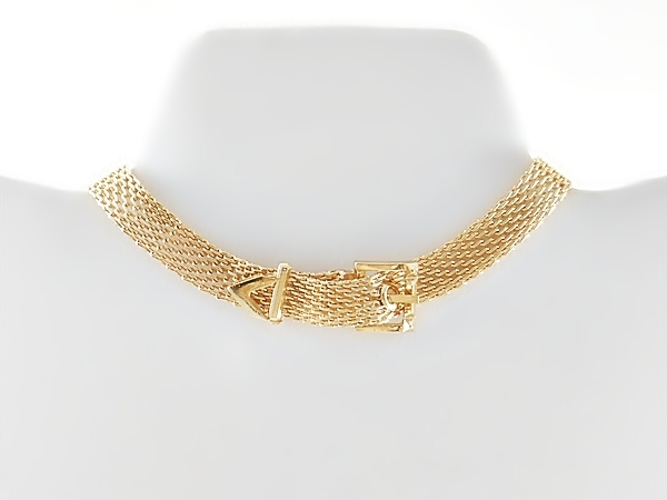 Trendy gold choker buckle necklace made of mesh chain approximately 11 inches long with a 3 inch extender and lobster claw clasp.