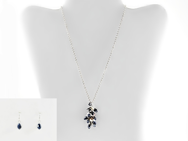 Abalone Shell and Navy Blue Hematite Glass Bead Cluster Necklace Set