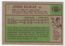 '.1984 Topps John Elway Back.'