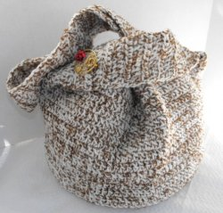 Crocheted Shoulder Bag Fully Lined Handcrafted with Vintage Pin