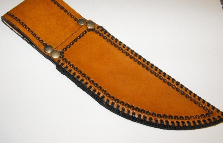 Image 0 of Handcrafted Leather Knife Sheath with Belt Loop Hand Stitched Tooled Border