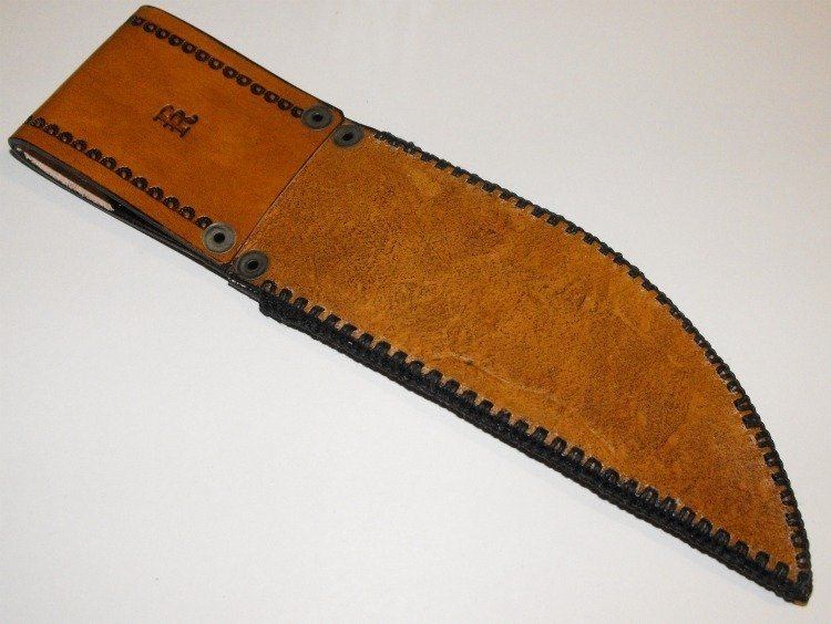 Image 1 of Handcrafted Leather Knife Sheath with Belt Loop Hand Stitched Tooled Border