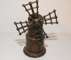 Vintage EMB Marti Spain Pencil Sharpener Diecast Metal Windmill