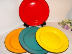 Vintage Enamelware Dinner Plates Set of 5 Solid Colors