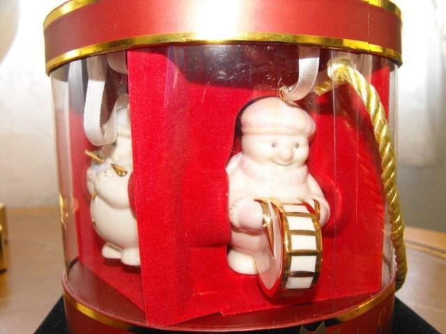 Image 1 of Lenox Ornaments Snowman Standabouts Set 5 2004 Mint in Original Box