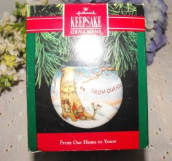 Vintage Hallmark Glass Keepsake Ornament 1991 Mouse Family in a Tree