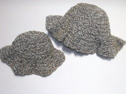 Crocheted Floppy Brim Hats Set of 2 Mommy and Me Handcrafted