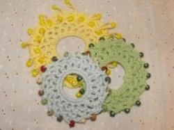 Crocheted Beaded Ponytail Scrunchies Set of 3