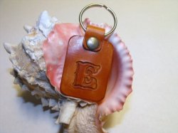 Leather Keychain Key Fob Hand Tooled Monogram of Letter 'E'