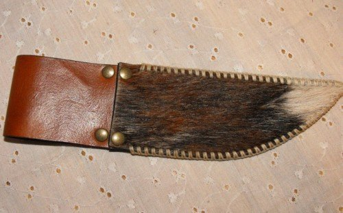 Image 1 of Leather Knife Sheath with Belt Loop Hair On Cowhide Hand Stitched