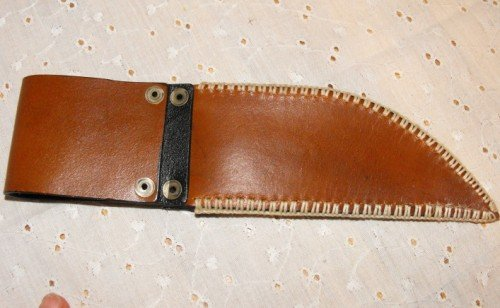 Image 2 of Leather Knife Sheath with Belt Loop Hair On Cowhide Hand Stitched