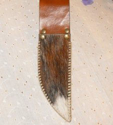 Leather Knife Sheath with Belt Loop Hair On Cowhide Hand Stitched